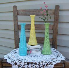 3 Painted Vintage Vases Cottage Decor by RepurposedTreasure4U, $24.00