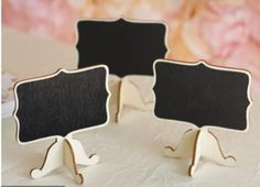 Chalkboard o wood place cards, they come in a package of 10 place cards, measure 3x5 Birthday Party Decorations, Birthday Parties, Diy Chalkboard Paint, Monogram Pillows, Dessert Stand, Laser Cut Acrylic, Mini Cupcakes, Party Gifts, Special Occasion