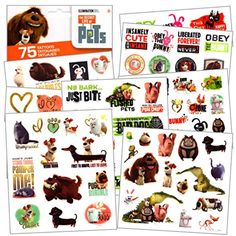 The Secret Life of Pets - 75 Assorted Temporary Tattoos >>> Check out this great product. (This is an affiliate link) #TemporaryTattoos