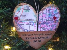 Personalized Long Distance Relationship Ornament, Long Distance Gift, Map Ornament Gift For Couple, Boyfriend Gift, Friendship Gift by AtHomeWithWords on Etsy https://www.etsy.com/listing/489218890/personalized-long-distance-relationship
