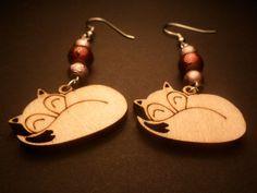 Sleeping fox dangle earrings with shades of by heartshapedyarn, $15.00