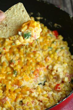 Creamy Cheesy Hot Corn Dip-Incredible Recipes from Heaven Spicy Corn Dip, Hot Corn Dip, Corn Dip Recipes, Mexican Food Recipes, Elote Corn Dip Recipe, Hot Mexican Corn Dip Recipe, Party Dip Recipes, Thai Recipes, Appetizer Dips