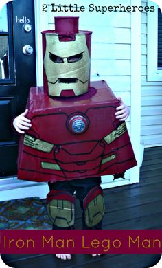 DIY LEGO Man-Iron Man costume.  Simple cardboard box and spray paint costume.