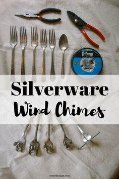 DIY Silverware Wind Chimes (she: Roberta)You can find Wind chimes and more on our website.DIY Silverware Wind Chimes (she: Roberta) Fork Crafts, Shell Crafts, Metal Crafts, Wind Chimes Craft, Rustic Wind Chimes, Silverware Art, Sterling Silverware, Recycled Silverware, Diy Jewelry To Sell