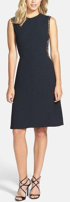 Jill Stuart Lace Inset Crepe Dress