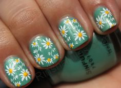 floral Konad w/ yellow dots