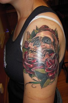 skull and roses tattoos for women | Skull & Roses