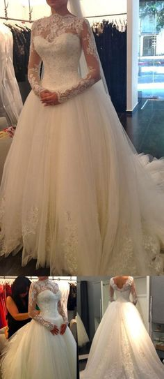 Bridal Wedding Dresses, White Wedding Dresses, Wedding Dresses 2017, Long Wedding Dresses, Wedding Dresses Long Sleeve, Long Train Wedding Dresses, Long Sleeve Dresses, Long Sleeve Wedding Dresses, Long White dresses, Ball Gown Wedding Dresses, White Long Sleeve dresses, White Long Sleeve Wedding Dresses, Chic Wedding Dresses Ball Gown Long Sleeve Sweep/Brush Train Bridal Gown