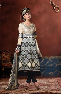 Ruffled Cream & Black Jacquard & Net Base Suit Design No :- 18551 Product :- Unstitched Salwar Kameez Size :- Max 40 Fabric :- Pure Jacquard, Net, Pure Georgette Work :- Resham, Jari, Embroidery, Stone Work Stitching Charges :- र 400 Price :- र 7050  For Sales Queries :- sales@manjaree.in OR call on 0261-3131669  For More Information :- http://manjaree.in/  Follow Our Blog :- http://manjareefashion.blogspot.in/