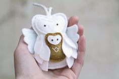 Christmas Guardian Angel // Felt Owl Ornament // Bronze // Remembrance Ornament // Handmade by OrdinaryMommy on Etsy