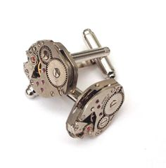 jewelled watch movement mens steampunk vintage silver cufflinks handmade gift by ResinHead on Etsy