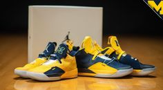 4016a23cad2 The Michigan Wolverines received their Air Jordan 33 Michigan PE colorways  that both come dressed in the school s Maize and Blue tones with branded  tongues.