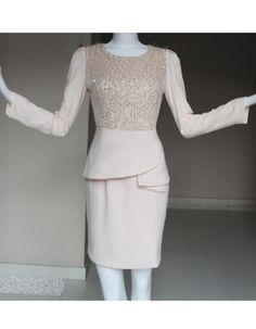 Attractive Column, Sheath Round Long Sleeves Knee Length Chiffon Mother of the Bride, Groom Dresses - US$ 139.99   BuyBuyStyle.com
