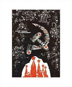PROPAGANDA SOVIET USSR GAGARIN COSMONAUT COMMUNISM POSTER ART PRINT BB2726A
