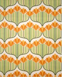 New Flowers Orange Wallpaper Vintage Wallpapers 32 Ideas