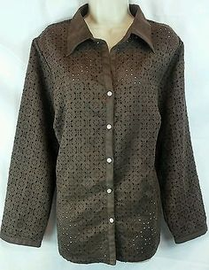 Avenue NEW Brown Floral Cut Out Long Sleeve Button Down Shirt Plus Size 18/20