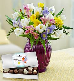 Our irresistible Fragrant Spring Medley bouquet featuring elegant white tulips and assorted pastel freesia will bring the sweet and familiar scent of spring into your home!