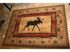 5x7 Tan & Burgundy Moose Rug
