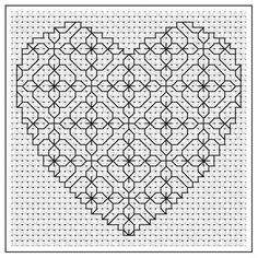 Primrose Heart Blackwork Chart by - Craftsy Looking for your next project? You're going to love Primrose Heart Blackwork Chart by designer Motifs Blackwork, Blackwork Cross Stitch, Blackwork Embroidery, Hand Embroidery Stitches, Cross Stitching, Cross Stitch Embroidery, Embroidery Patterns, Cross Stitch Designs, Cross Stitch Patterns