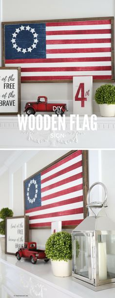Learn how to make this DIY Wood Flag Sign for your red, white and blue Fourth of July decor with this simple step-by-step tutorial!