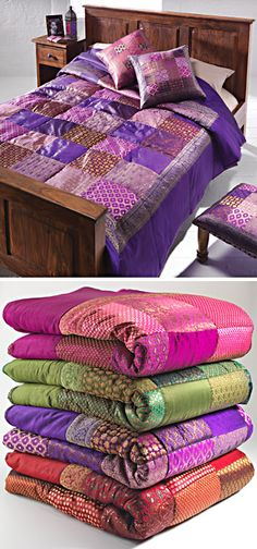 Patchwork sari brocade Indian quilt