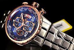 Invicta 17203 Men 48mm AVIATOR Tachymeter Chronograph Blue Dial Bracelet Watch Breitling, Chronograph, Bracelet Watch, Aviation, Watches, Bracelets, Blue, Men, Accessories