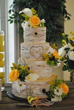 Sunflower Wedding Cake Birch Tree Birch tree Flowers Wedding cake by cake zone Birch Wedding Cakes, Birch Tree Wedding, Wedding Cake Rustic, Wedding Desserts, Sunflower Cakes, Nature Inspired Wedding, Tree Cakes, Cake Gallery, Beautiful Cakes