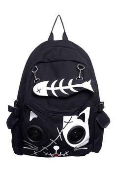 Wear this awesome & fun Kitty Cat & FishBone backpack with speakers and you can be prepared for school, sleepovers and days out every day. This awesome backpack has a stand out image that will certainly get you noticed for your uncontrollable style. Allowing you to get noticed even if people can't see you, this Banned backpack has speakers in the front pocket along with an MP3 connection dock you can use to play your favorite tunes wherever you go. Perfect for when hanging with your friends…