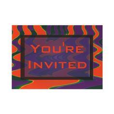 Bright orange and purple invitation flat cards #party #invitation #orange