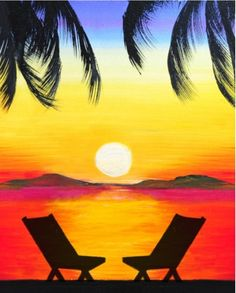 We host painting events at local bars. Come join us for a Paint Nite Party! We host painting events at local bars. Come join us for a Paint Nite Party! Cute Canvas Paintings, Easy Canvas Painting, Summer Painting, Simple Acrylic Paintings, Diy Painting, Canvas Art, Easy Paintings, Beach Sunset Painting, Sunset Paintings