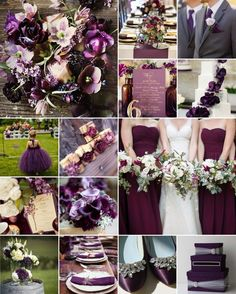 Aubergine / Eggplant Wedding Colours Eggplant / aubergine is a dark purple colour but what really sets it apart is the almost brownish undertone that gives it that rustic edge. Eggplant Wedding Colors, Aubergine Wedding, Wedding Colours, Sangria Wedding Colors, Wedding Themes, Wedding Decorations, Plum Wedding Decor, Fall Wedding Purple, Plum Wedding Centerpieces