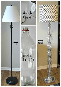 the ReFab Diaries: Upcycle: Coke bottles + duct tape = glam lamp!Would probably never do this myself, but this is a very clever Upcycle: Coke bottles + duct tape = glam lamp!Coke Bottles + Duct Tape = Glam Lamp (image only) OMG I can figure this out Floor Lamp Redo, Floor Lamp Makeover, Floor Lamps, Glam Lamps, Diy Luz, Diy Casa, Diy Flooring, Duct Tape, Lampshades