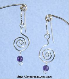 """""""G-Clef"""" Earrings with Amethyst Beads"""