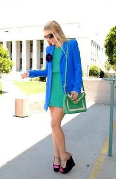 Shop this look on Lookastic:  http://lookastic.com/women/looks/sunglasses-casual-dress-blazer-crossbody-bag-wedge-sandals/9543  — Dark Brown Sunglasses  — Green Pleated Casual Dress  — Blue Blazer  — Green Leather Crossbody Bag  — Pink and Black Suede Wedge Sandals