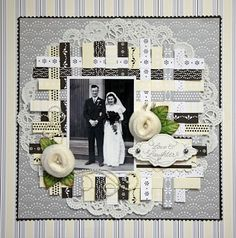 Love and Laughter ~ Clever woven paper strip and lace doily matting with tutorial.