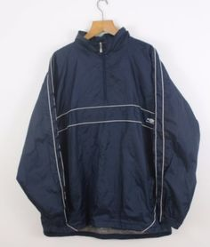 FOR SALE: Vintage UMBRO Navy Blue 1/4 Zip Soft Shell Anorak Jacket | Retro Classic | XXL