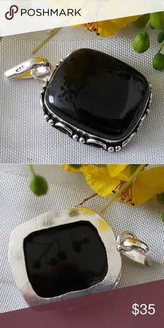 """BLACK ONYX PENDANT 1.5""""x1.5"""" Black Onyx Pendant in """"Stamped 925"""" Sterling Silver. Beautiful Vintage Style Design Jewelry Necklaces"""