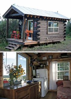 Easy to Build Tiny House Plans! This tiny house design-build video workshop shows how… Tiny Log Cabins, Small Log Cabin, Tiny House Cabin, Little Cabin, Cabins And Cottages, Tiny House Living, Cabin Homes, Little Houses, Log Homes