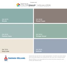 I found these colors with ColorSnap® Visualizer for iPhone by Sherwin-Williams: Drizzle (SW 6479), Festoon Aqua (SW 0019), Ivory Lace (SW 7013), Poised Taupe (SW 6039), Vintage Vessel (SW 9050), Solitude (SW 6535).