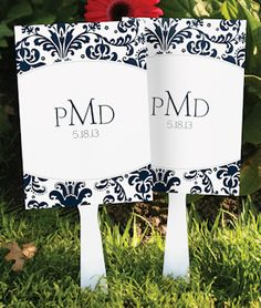 Personalized Damask Monogram Favor Fans from Wedding Favors Unlimited