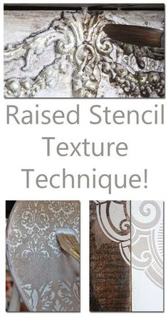 Learn this Raised Stencil Texture Technique - it's fast and easy!Learn this Raised Stencil Texture Technique - it's fast and easy! Faux Painting, Painting Tips, Painting Techniques, Painting Walls, Paint Techniques Furniture, Glazing Techniques, Furniture Projects, Furniture Makeover, Graphics Fairy