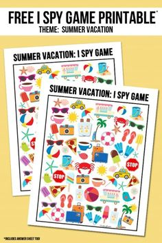 Free Summer Vacation I Spy printable!  Answer key included as well -- visit with livelaughrowe.com