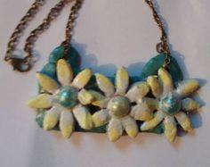 Items similar to Eco Friendly Felt Flower Bib Necklace - Oatmeal on Etsy