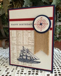 The Open Sea and Weekly Deals Cindy's CAS card: The Open Sea, Morning Meadow (hostess), and Burlap Ribbon. All supplies from Stampin' Up!Cindy's CAS card: The Open Sea, Morning Meadow (hostess), and Burlap Ribbon. All supplies from Stampin' Up! Masculine Birthday Cards, Birthday Cards For Men, Masculine Cards, Male Birthday, Happy Birthday, Boy Cards, Cute Cards, Burlap Card, Burlap Ribbon