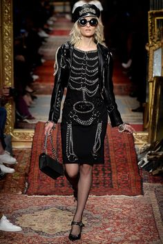 Moschino Fall 2016 Ready-to-Wear. This piercing ribcage look is almost good. Almost.