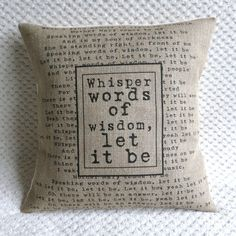 The Beatles Song Quote Let It Be Hessian Burlap Pillow Cushion Cover 16