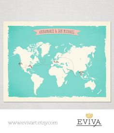 World Map with 4 locations Custom Wedding Print Destination Wedding Gift Couple print alternative Signature Guest Books Signature Map  *** Print size Select you print size from the drop-down Menu (in inches): 5 x 7, 8 x 10, 11 x 14, 12 x 18, 16 x 20, 20 x 24, 20x30, 24 x 30 or 30 x 40 inches   Perfect for wedding or anniversary gift or use it as your wedding guests signature print / alternative guest book. After the wedding you have an art print that you can frame to keep remembering you...