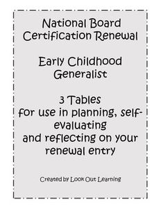 National Board Renewal: Early Childhood Generalist Renewal Resources