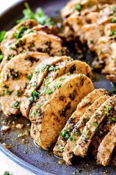 BEST Baked Pork Tenderloin with Garlic Herb Butter