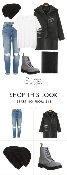 """""""Suga Inspired w/ Dr. Martens"""" by btsoutfits ❤ liked on Polyvore featuring River Island, Phase 3, Dr. Martens and Undercover"""